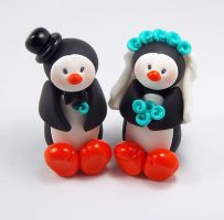 Penguin Wedding Cake Topper by HeartshapedCreations