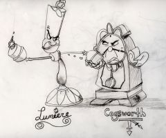 Lumiere and Cogsworth by Reluctanthero27