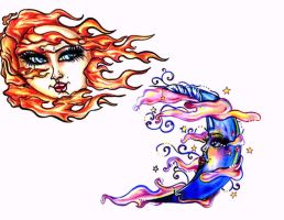 Sun and Moon tattoo designs by Mexican-Gypsy