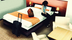 Suitcases, hotel and forgotten friend by innaaleksui