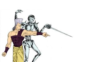 Jean Pierre Polnareff and Silver Chariot by 9999DamagePoints