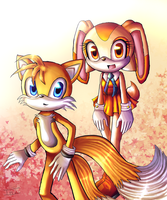 Tails and Cream autumn by KirbyFan510
