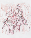 Commission - Dare Devil and Punisher by DeanGrayson