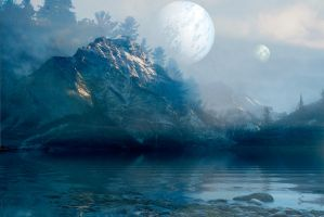Fog Covered Lake And Mountains BG w/ moons by scryer41