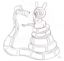 Kaa and Fionna Sketch by lol20