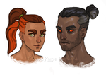 Nym And Shadow As Humans by KatieHofgard