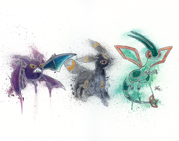 Crobat - Umbreon - Flygon [COMMISSION] by LukeFielding
