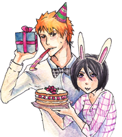 Happy B-day by Ichigo and Rukia by Vanilla-Rai