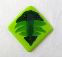Fused Glass Trilobite Tile in Green by trilobiteglassworks