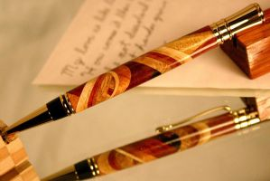 Dementia handcrafted wood pen in abstract pattern by HopeAndGracePens