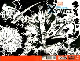 X-Force Sketchcover with Nightcrawler and X-Men by ElfSong-Mat