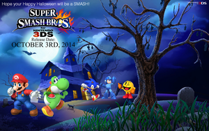 SSB4 For Nintendo 3DS - Halloween Wallpaper 2 by TheWolfBunny