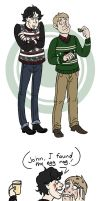 Sherlock and John's Horrible Xmas Sweaters by taconaco