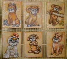 Chinese Zodiac Kitty - ACEO 2 by BlackAngel-Diana