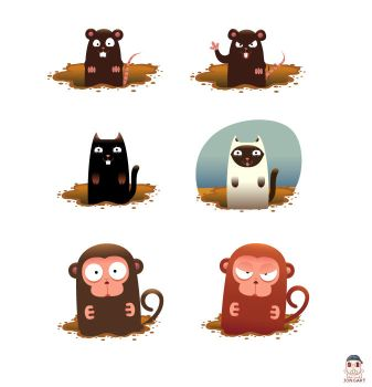monkey cat and mouse by jongart