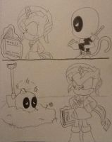 Deadpool's 2nd Attempt w/ Sunset Shimmer by ArtKing3000