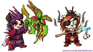 WoW Chibi : Pandaren Monk and Hunter by DivineTofu