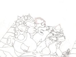 Bowser vs Dark Bowser WIP by Alienldr1