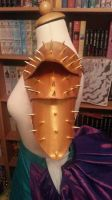 Custom golden shoulder armor - side view by Firefly182