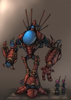 alien droid mech colored by shalomone