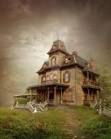 PREMADE background -TheHountedHouse_b by Euselia