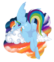 Rainbow Butt Amongst the Clouds by Jooughust