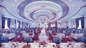 Interior of banquet hall by ideaday