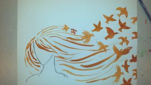 Water-colour sketch, woman with birds by enivila