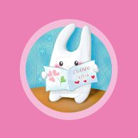Bunny and postcard by jkBunny