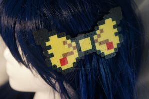 Pikachu Perler Bead Bow by KASS-Shoppe
