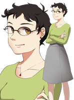 Short Hair Glasses Lady by skimlines