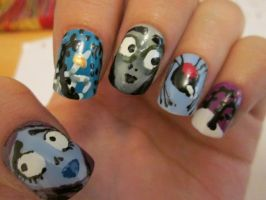 Corpse Bride nails by henzy89