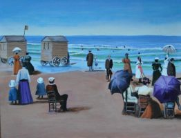 On The Beach Victorian times acrylic on canvas by Artisan30