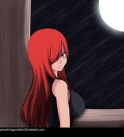 Erza Time of falling stars and moon by Zeroshini
