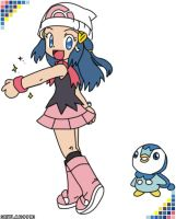 Dawn and Piplup by skylar9993