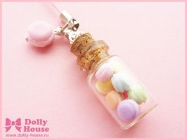 Kawaii strap - Sweet macaroons in a jar - by Dolly by SweetDollyHouse