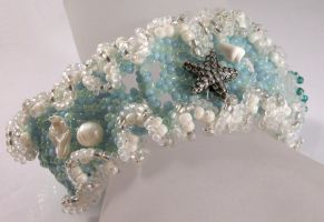 Ocean Ruffle - peyote bead weave, shell, sterling by cserpentDesigns