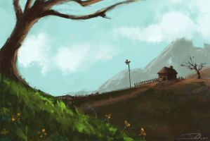 a tree and  a house landscape by cury