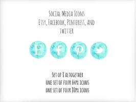 Social Media Icons-Turquoise/Mint Watercolor PNGs by K-Roks-G