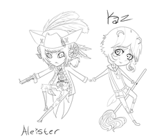 Steampunk Chibis set 2 lineart by ShadewithoutSun