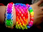 Rainbow loom bracelets without loom (on forks) by Angelic-Painter