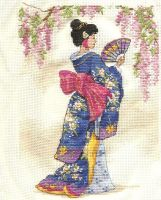 Geisha cross stitch by KuroKakumei