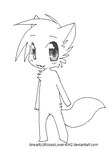 .: Chibi Wolf Lineart :. by RoxasLover-KH2