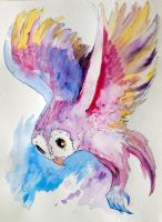 Owl watercolor study By DW Miller by ConceptsByMiller