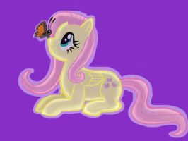 Fluttershy with a butterfly by barnowlgurl23