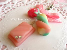 Pink chocolate and marshmallow phone charm by virahandmade