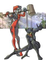 Harley Quinn and Catwoman 2014 by BrianTyson