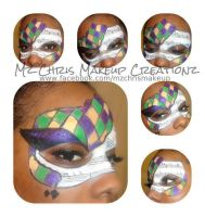 Mardi Gras Mask Makeup by MzChrisCreatez