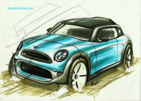 mini cooper marker sketch by ecco666