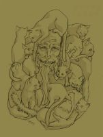 Old man with a million cats by 626elemental